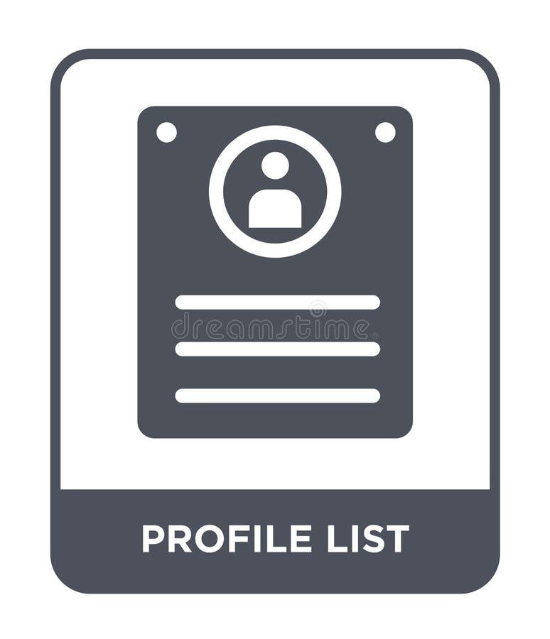 icono de la lista del perfil en estilo de moda del diseño icono de la lista del perfil aislado en el fondo blanco icono del vecto stock de ilustración