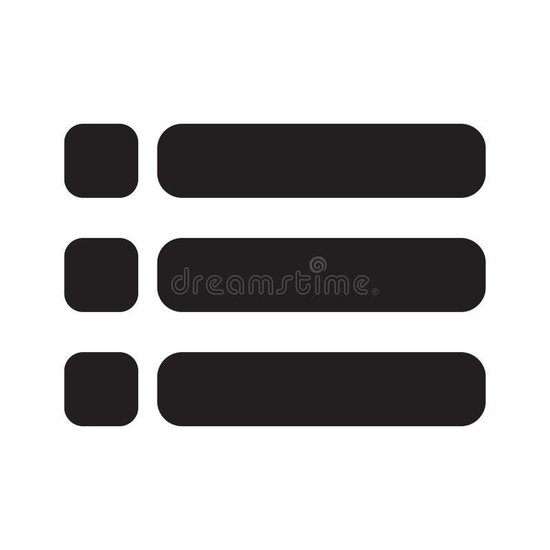 Icono de la lista en el fondo blanco Estilo plano Símbolo para su diseño del sitio web, logotipo, app, UI de la lista Símbolo con ilustración del vector
