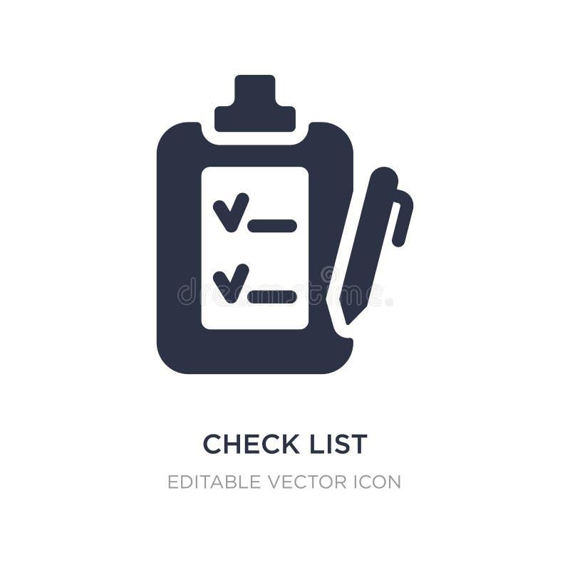 icono de la lista de verificación en el fondo blanco Ejemplo simple del elemento del concepto de la educación ilustración del vector