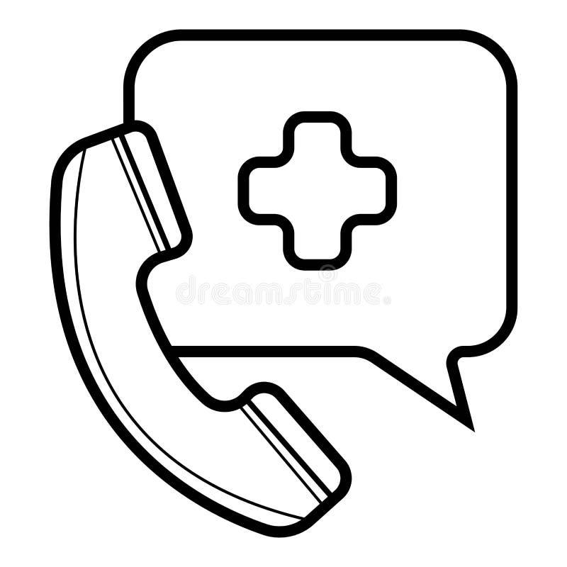 Icono de la llamada de emergencia, medicina y atención sanitaria, ayuda médica ilustración del vector