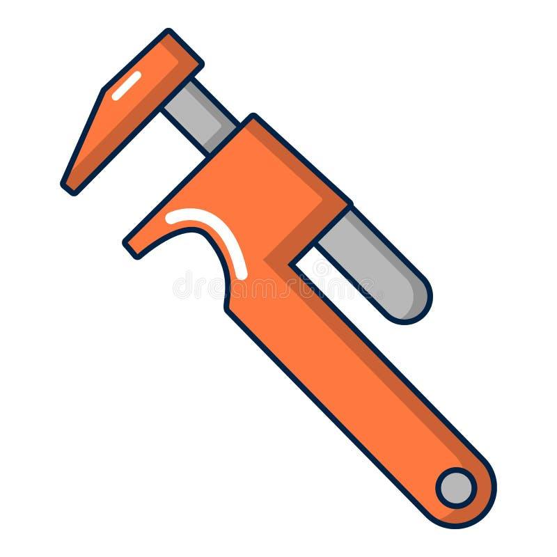 Icono de la llave ajustable, estilo de la historieta stock de ilustración