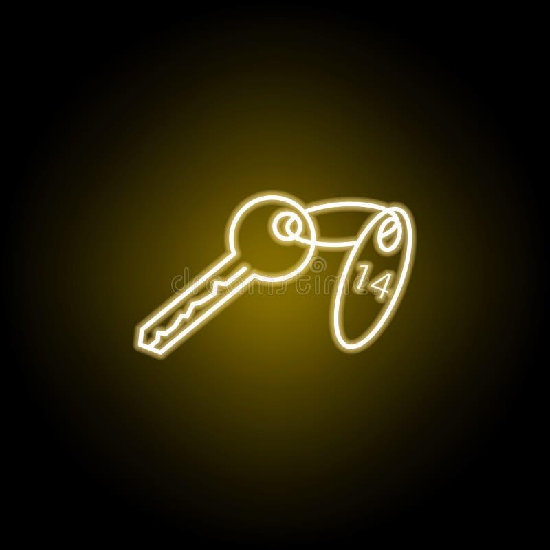 icono de la llave de sitio en el estilo de ne?n Las muestras y los s?mbolos se pueden utilizar para la web, logotipo, app m?vil,  stock de ilustración