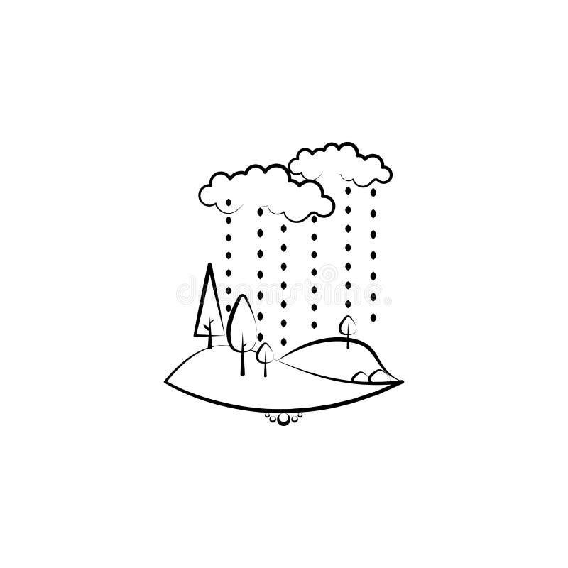 icono de la lluvia del árbol de la nube Elemento del icono del paisaje para los apps móviles del concepto y del web El icono dibu stock de ilustración