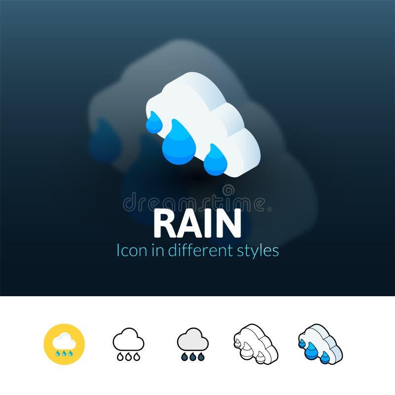 Icono de la lluvia en diverso estilo stock de ilustración