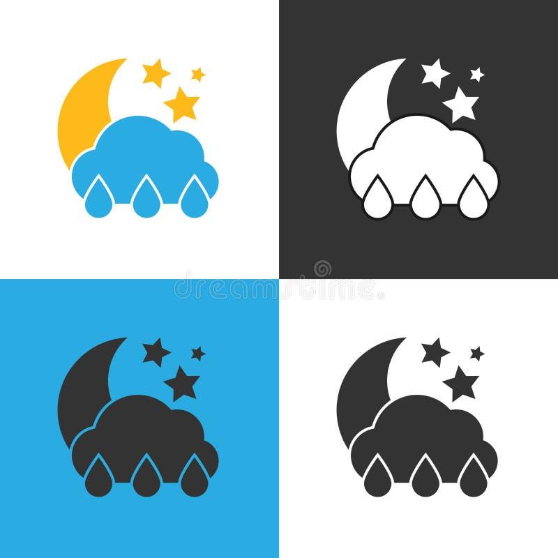 Icono de la lluvia de la noche Fije de icono de la lluvia de cuatro noches ilustración del vector