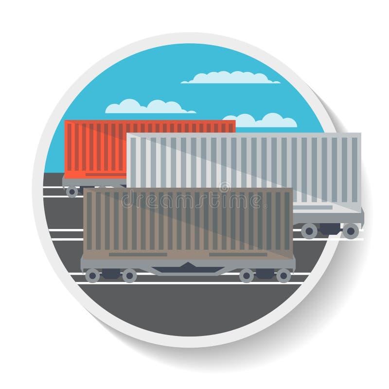 Icono de la logística con el carro ferroviario comercial stock de ilustración