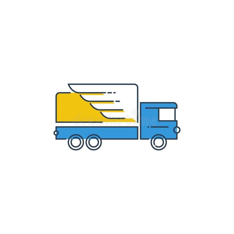 Icono de la logística, concepto rápido del logotipo de la entrega del camión stock de ilustración