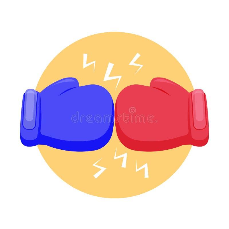 Icono de la lucha de los guantes de boxeo Icono azul y rojo del guante de boxeo, concepto de la lucha, aislado en el fondo blanco ilustración del vector