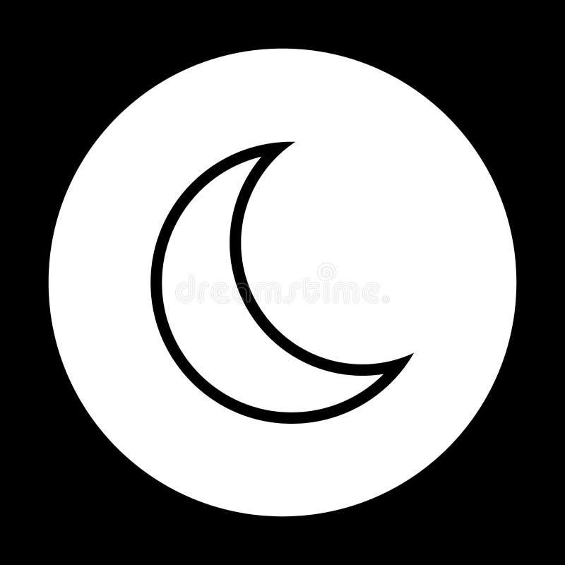 Icono de la luna del vector con en el fondo blanco modo durmiente libre illustration