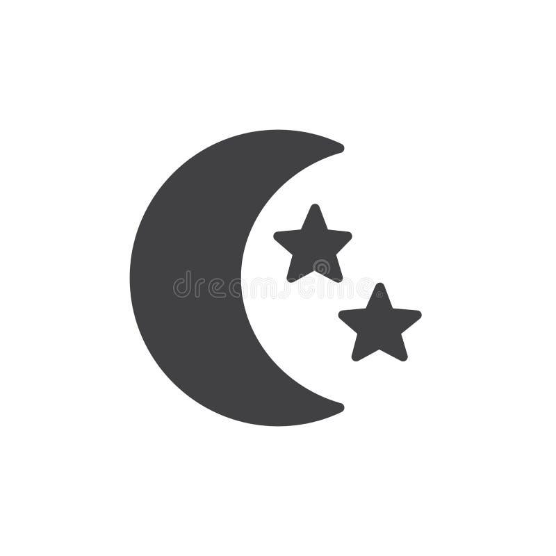 Icono de la luna y de las estrellas ilustración del vector