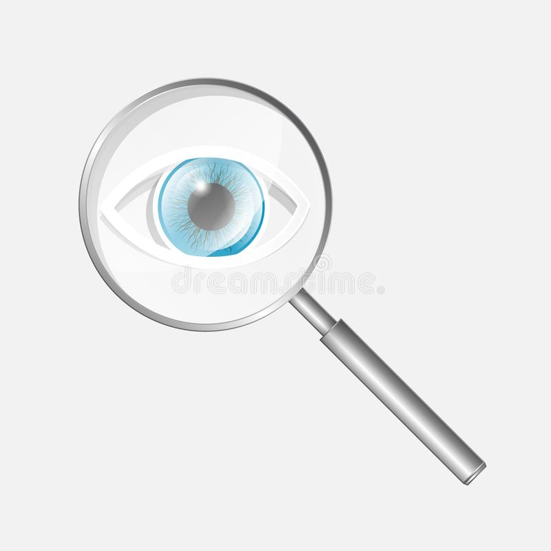 Icono de la lupa con el ojo stock de ilustración