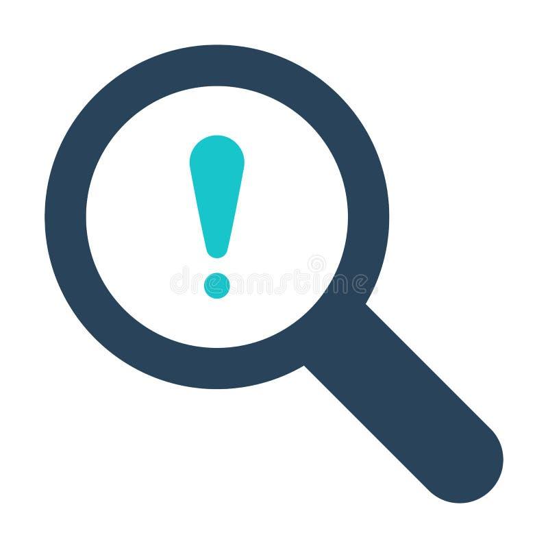 Icono de la lupa con la marca de exclamación Icono y alarma, error, alarma, símbolo de la lupa del peligro stock de ilustración