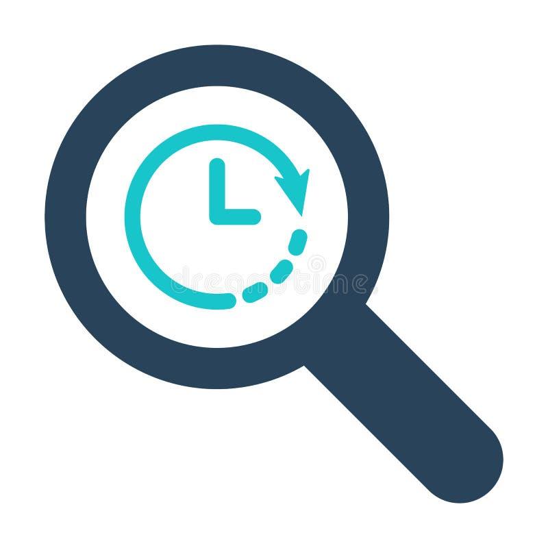 Icono de la lupa con la muestra del reloj Icono y cuenta descendiente, plazo, horario, símbolo de planificación de la lupa stock de ilustración