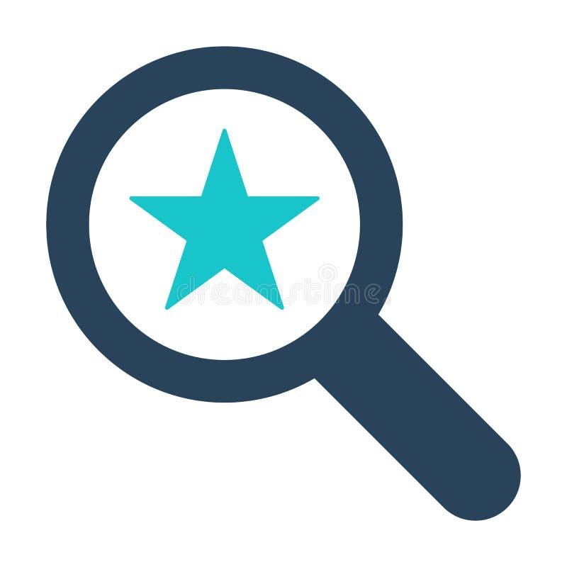 Icono de la lupa con la muestra de la estrella Icono de la lupa y el símbolo mejor, preferido, de clasificación libre illustration