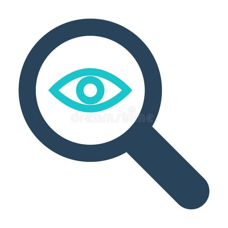 Icono de la lupa con la muestra de la investigación El icono de la lupa y explora, encuentra, examina símbolo stock de ilustración