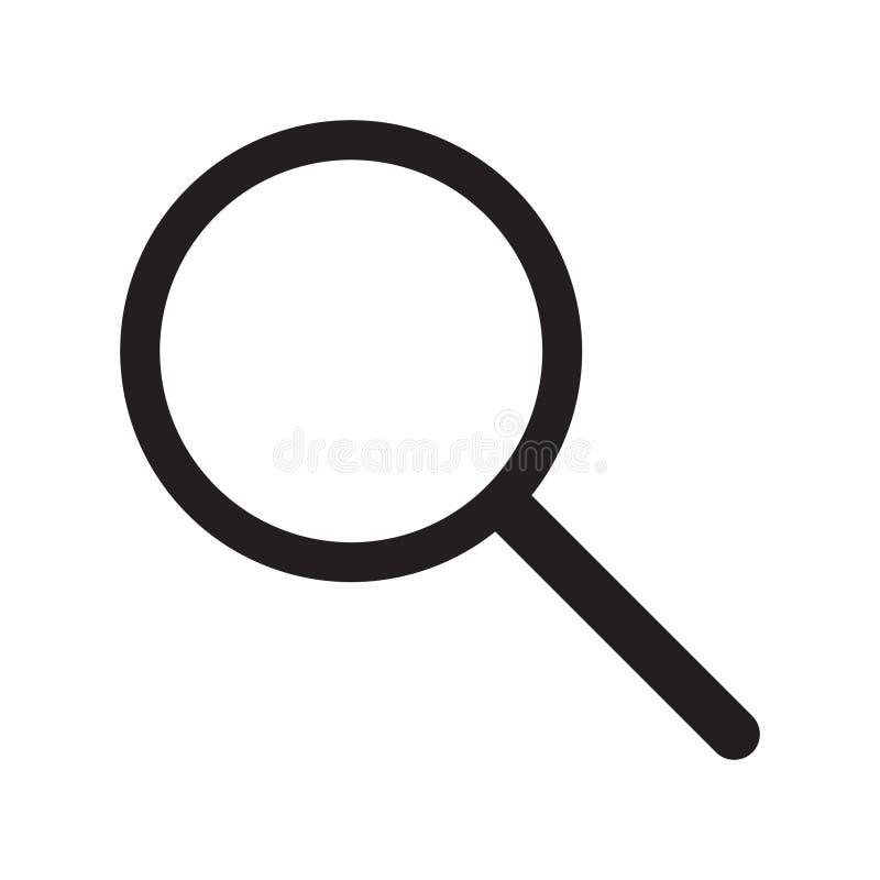 Icono de la lupa, lupa del vector o muestra de la lupa stock de ilustración