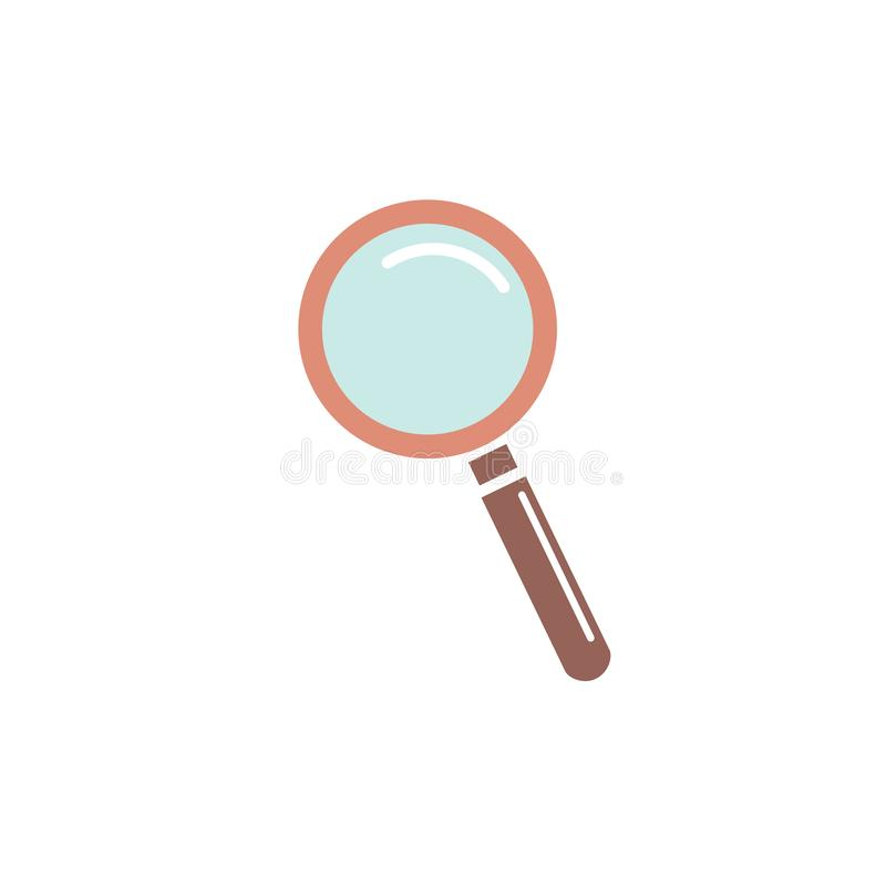 Icono de la lupa, lupa del vector o muestra de la lupa Icono plano del vector Icono del color libre illustration