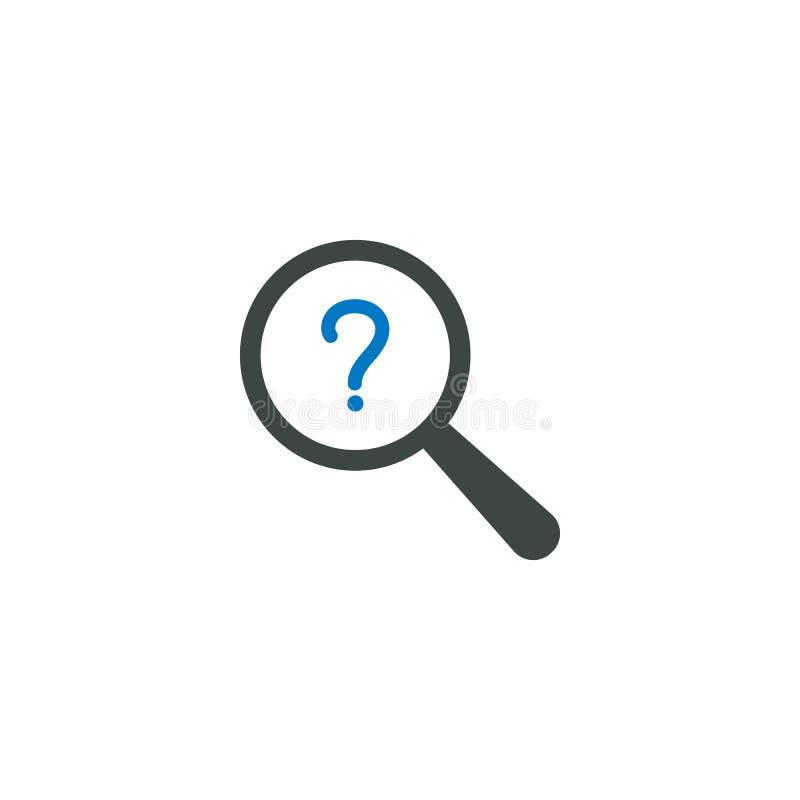 Icono de la lupa, icono de la pregunta ilustración del vector