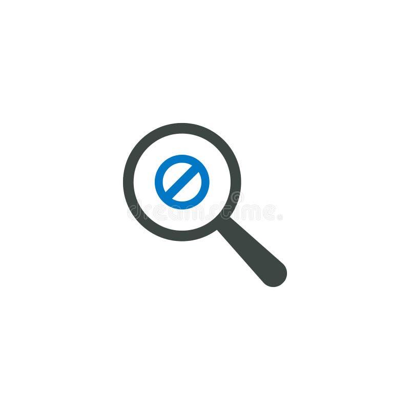 Icono de la lupa, icono de la prohibición stock de ilustración