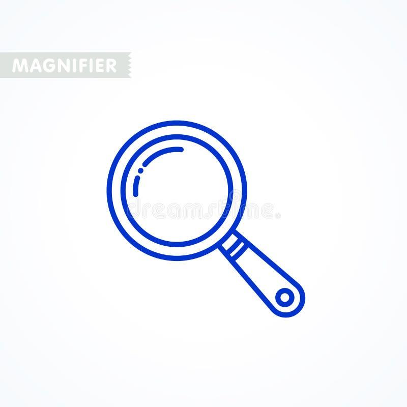 Icono de la lupa resuma la lupa diseñada alinean ligeramente el icono, pictograma linear aislado en blanco ilustración del vector