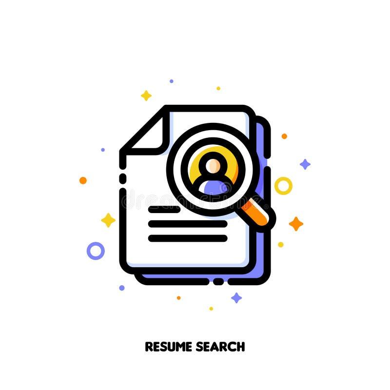 Icono de la lupa y del curriculum vitae para el reclutamiento de las personas cualificadas o búsqueda de concepto eficiente de lo stock de ilustración
