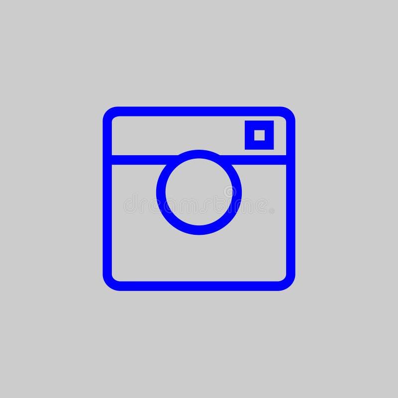 Icono de la máquina de la foto del color azul en un fondo gris libre illustration