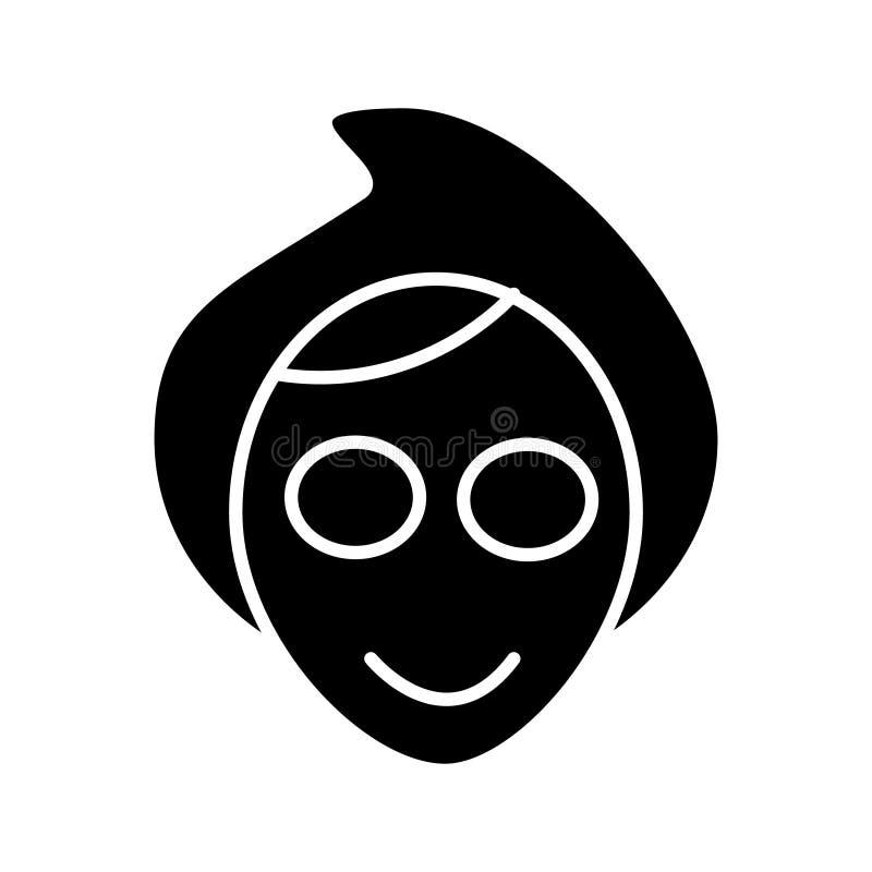 Icono de la máscara del balneario de la cara, ejemplo del vector, muestra negra en fondo aislado ilustración del vector