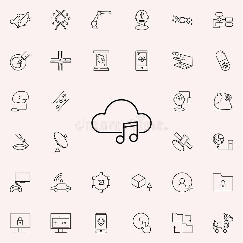 Icono de la música de la nube Sistema universal de los iconos de las nuevas tecnologías para el web y el móvil stock de ilustración