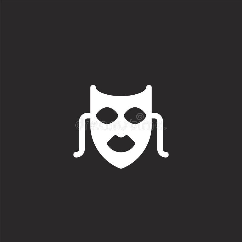 Icono de la m?scara Icono llenado de la máscara para el diseño y el móvil, desarrollo de la página web del app icono de la máscar stock de ilustración