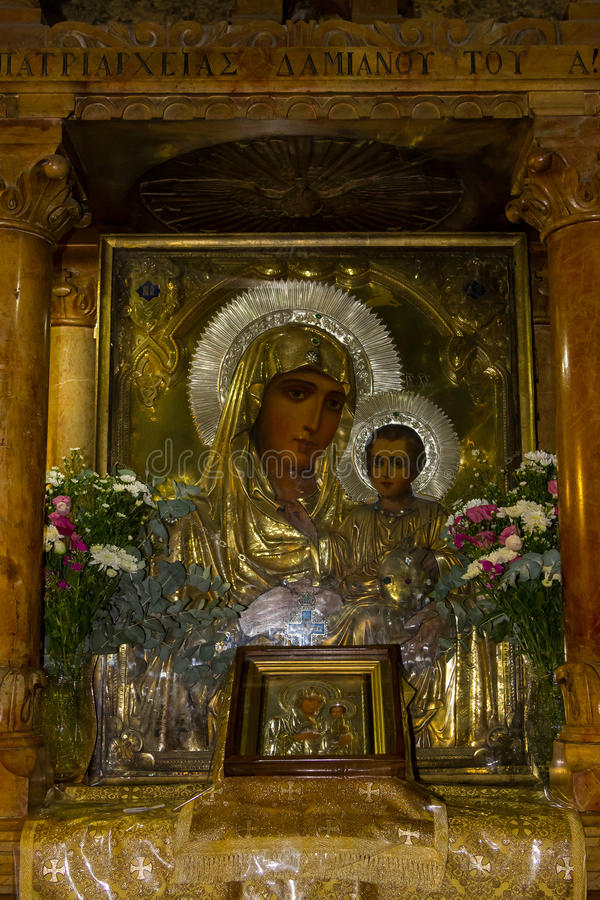 Icono de la madre de dios, tumba de la Virgen María, Jerusalén fotos de archivo