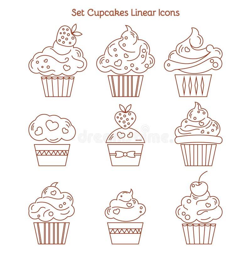 Icono de la magdalena Muestra de la torta del postre Símbolo delicioso de la comida de la panadería L stock de ilustración