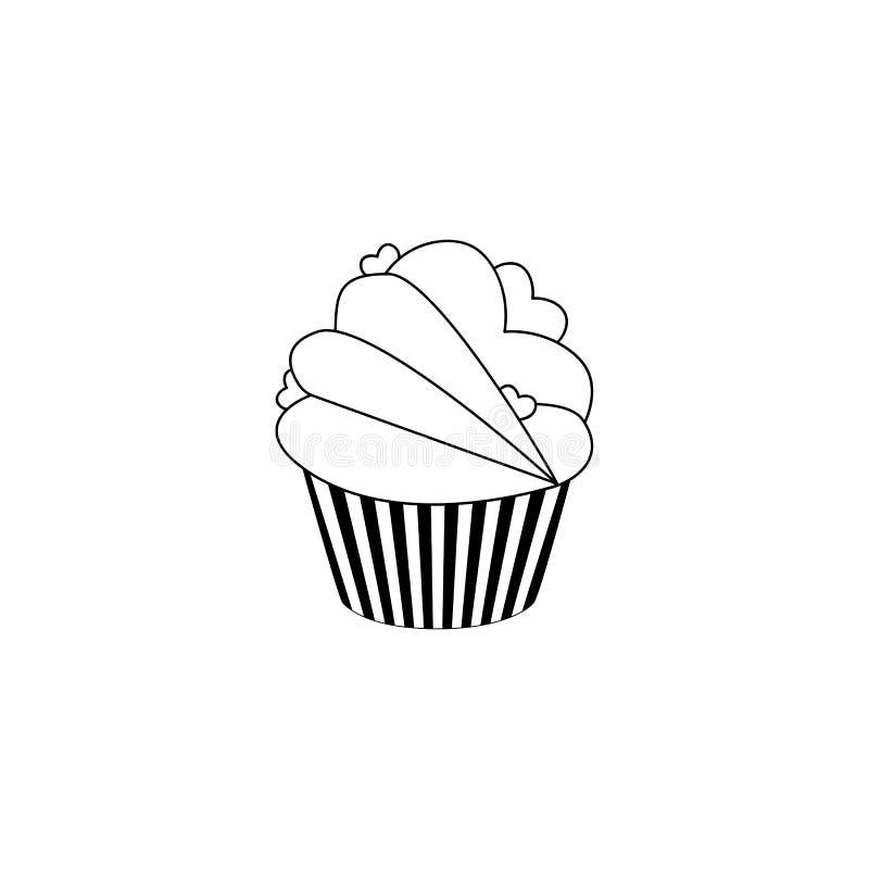 Icono de la magdalena Muestra de la torta del postre S?mbolo delicioso de la comida de la panader?a Iconos lineares en el fondo b ilustración del vector