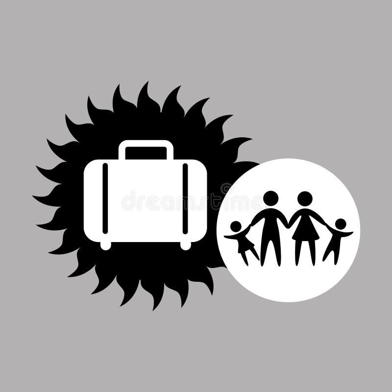 Icono de la maleta de las vacaciones de familia de la silueta ilustración del vector