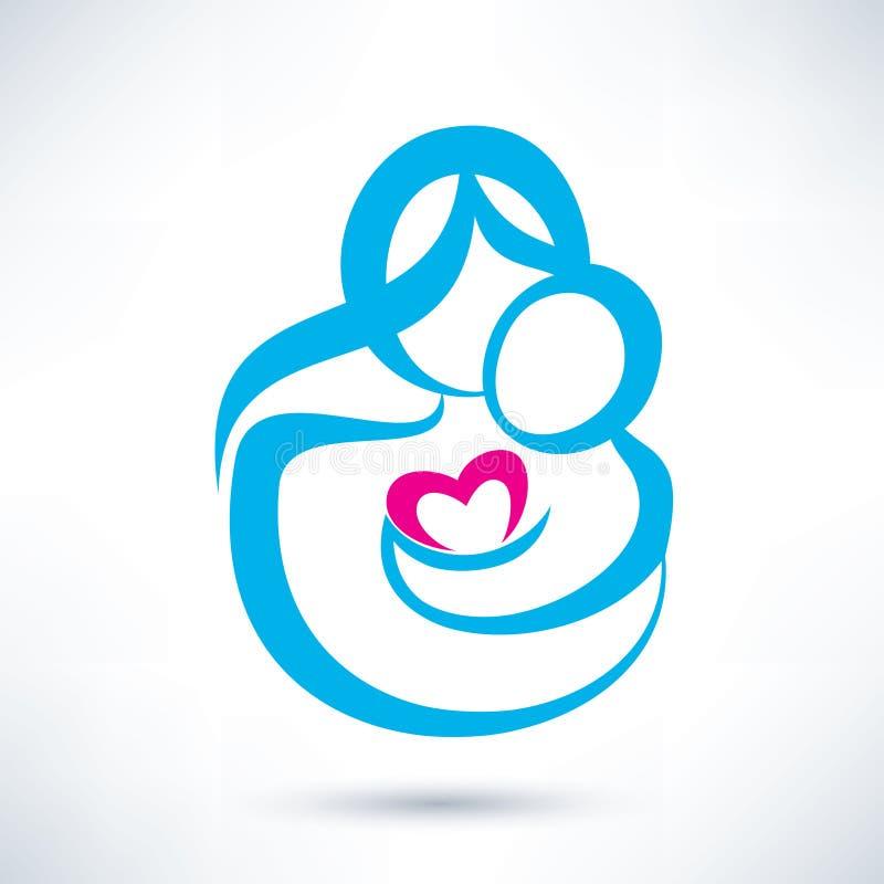 Icono de la mamá y del bebé ilustración del vector