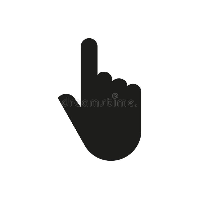 Icono de la mano Cursor y tecleo, prensa, símbolo del golpecito Dise?o plano Acci?n - ejemplo del vector foto de archivo libre de regalías
