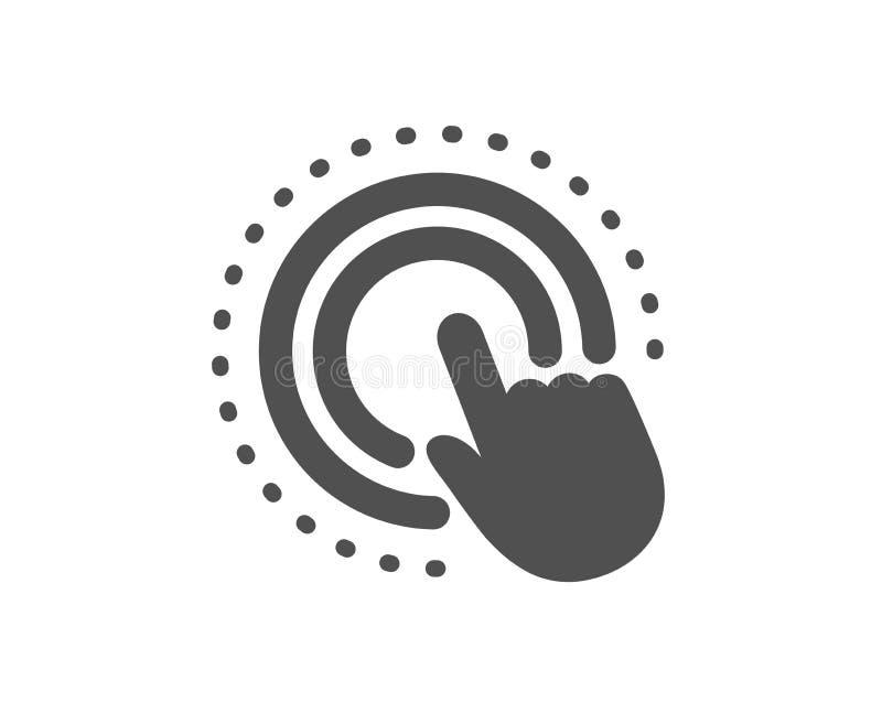 Icono de la mano del tecleo Muestra del gesto de la pantalla táctil Acci?n del empuje Vector ilustración del vector