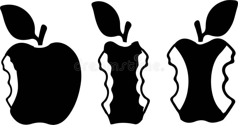 Icono de la manzana de la mordedura fijado en el fondo blanco libre illustration
