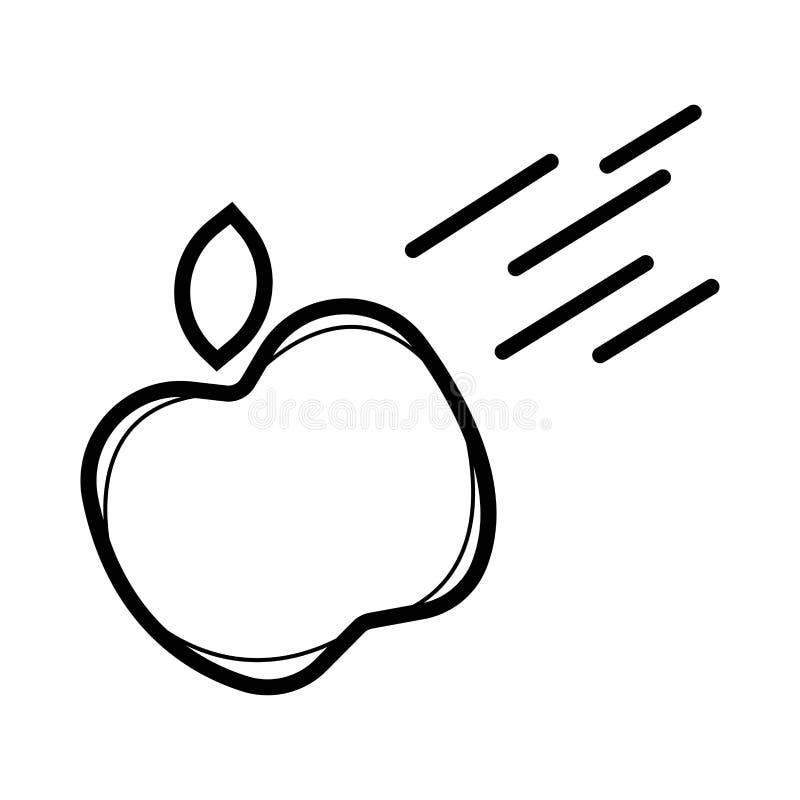 Icono de la manzana que cae stock de ilustración