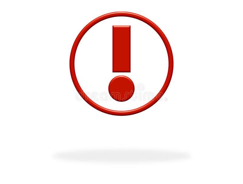 Icono de la marca de exclamación con color rojo stock de ilustración