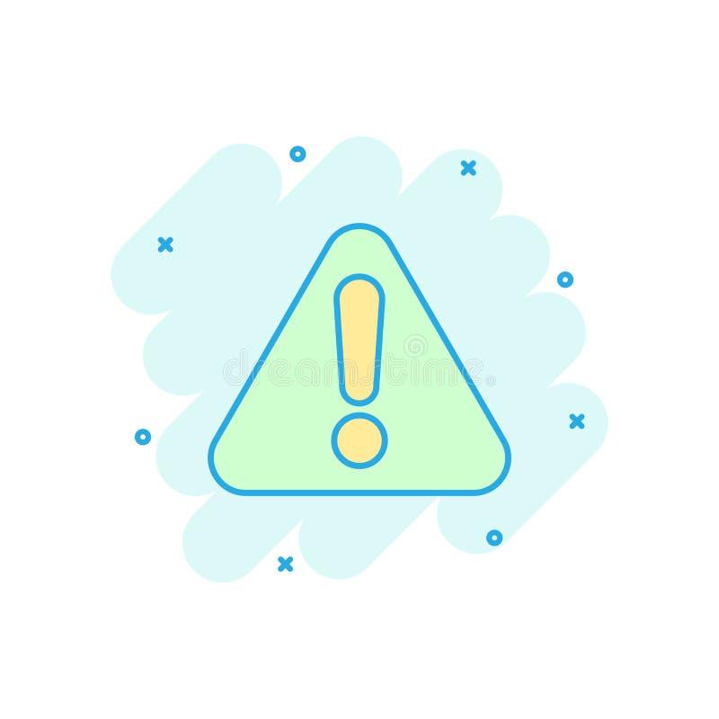 Icono de la marca de exclamación en estilo cómico Pictograma del ejemplo de la historieta del vector de la alarma del peligro Cha libre illustration