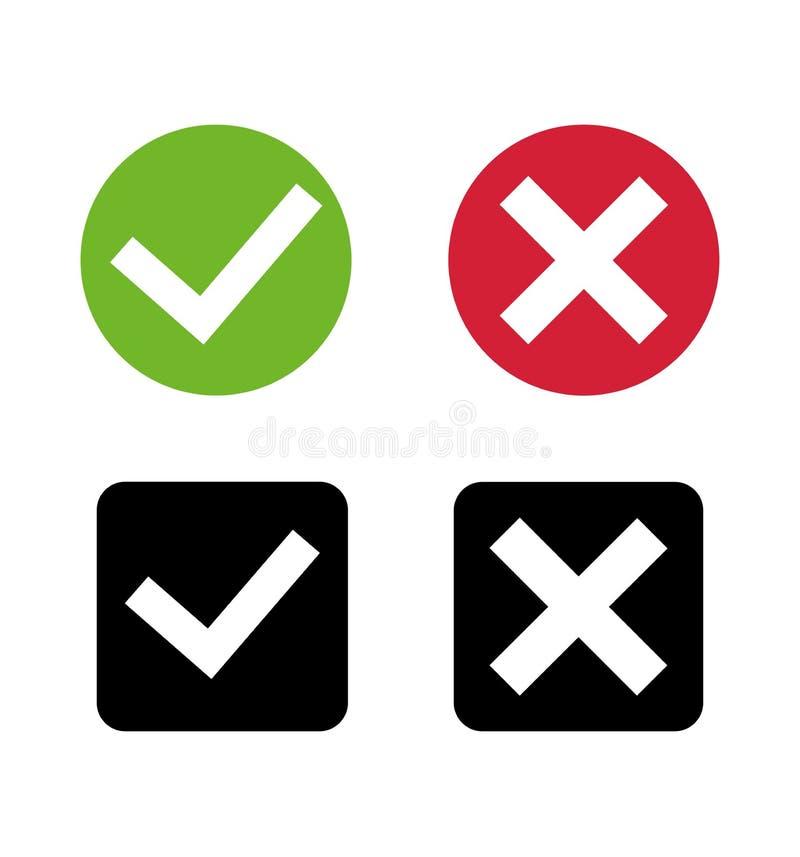 Icono de la marca de las puñetas, Cruz Roja, vector plano del sistema de los botones de la marca de verificación verde stock de ilustración