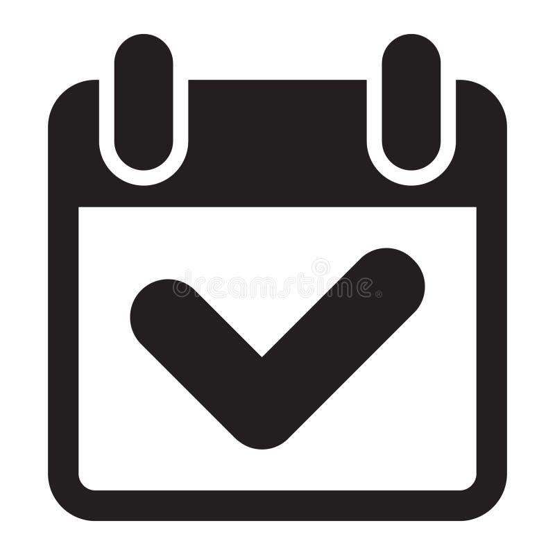 Icono de la marca de verificación del calendario ilustración del vector