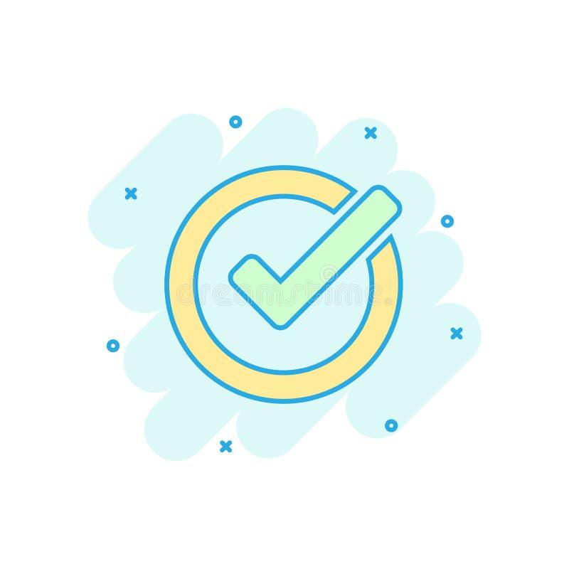 Icono de la marca de verificación en estilo cómico La autorización, acepta el pictograma del ejemplo de la historieta del vector  ilustración del vector