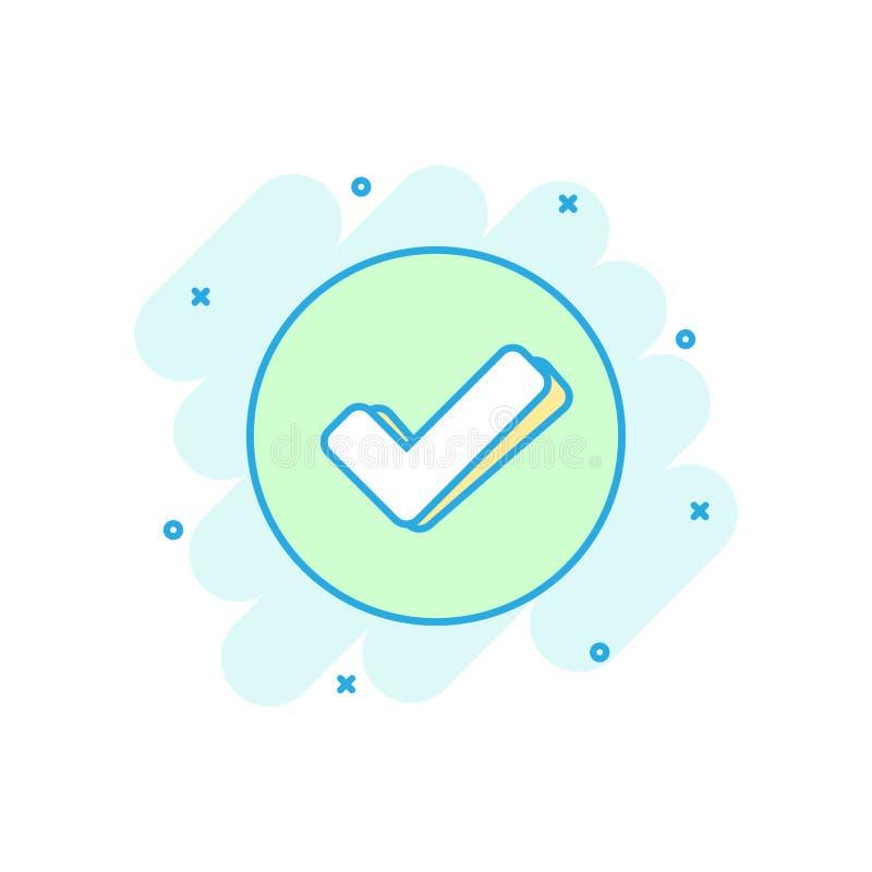 Icono de la marca de verificación en estilo cómico La autorización, acepta el pictograma del ejemplo de la historieta del vector  stock de ilustración