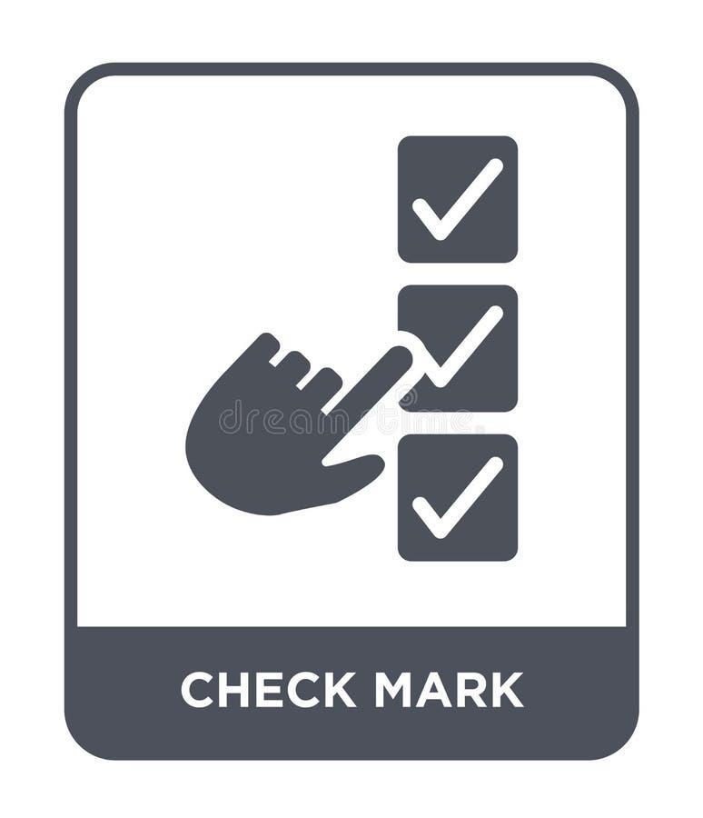 icono de la marca de verificación en estilo de moda del diseño Icono de la marca de verificación aislado en el fondo blanco icono stock de ilustración