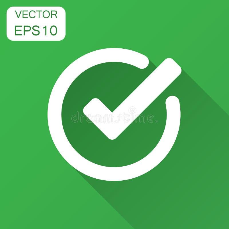 Icono de la marca de verificación en estilo plano La autorización, acepta los wi del ejemplo del vector ilustración del vector