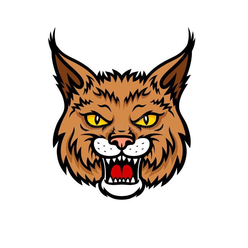 Icono de la mascota del vector del bozal de la cabeza del lince del lince stock de ilustración