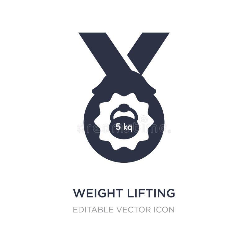 icono de la medalla del levantamiento de pesas en el fondo blanco Ejemplo simple del elemento del concepto de los deportes stock de ilustración