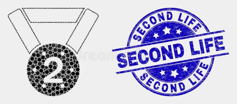 Icono de la medalla del lugar del punto del vector 2do y sello rasguñado del sello de Second Life stock de ilustración