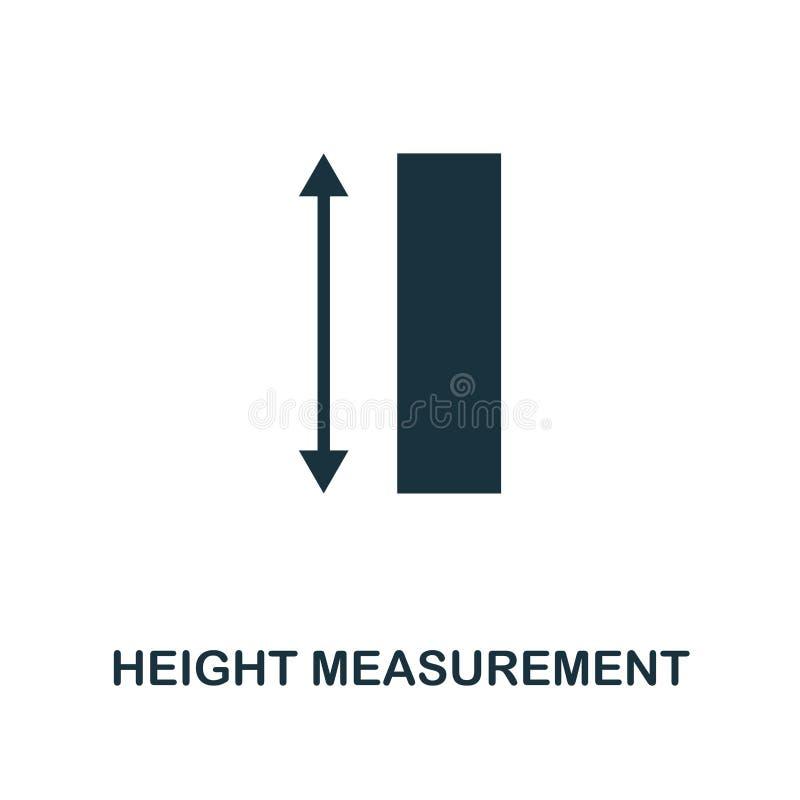 Icono de la medida de la altura Diseño monocromático del estilo de la colección del icono de la medida UI y UX Ico perfecto de la ilustración del vector
